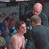 During the third match of the Mixed Martial Arts match ERIK NEWMAN gets a cut attended to at the Fight Hard MMA held at the Family Arena in St. Charles MO.