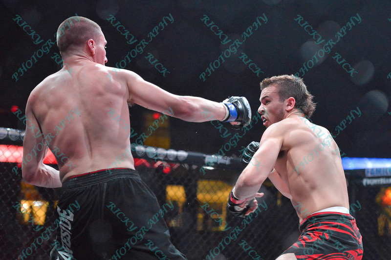 During the 9th match of the Mixed Martial Arts match between JERADON BROWN (blue tape) and DAKOTA BUSH (red tape) at the Fight Hard MMA held at the Family Arena in St. Charles MO.