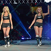 The ring girls walk down the walkway during the Mixed Martial Arts  at the Fight Hard MMA held at the Family Arena in St. Charles MO.