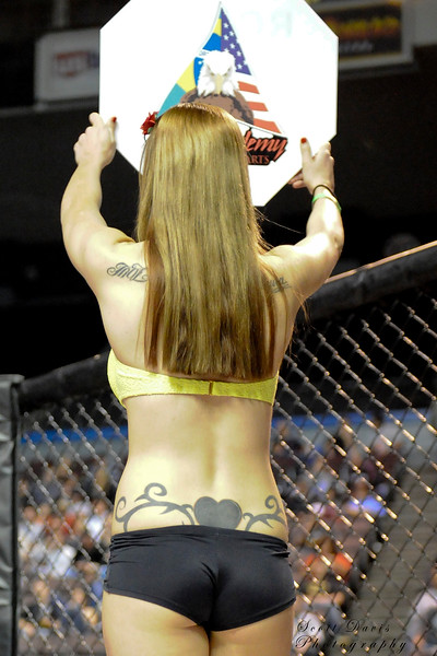 Ring girl between rounds during the American MMA Ohio Championships at US Bank Arena in Cincinnati,Ohio. during the American MMA Ohio Championships at US Bank Arena in Cincinnati,Ohio.