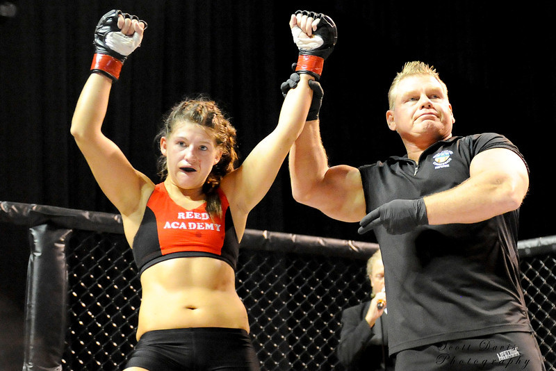 Lisa Reed wins by unanimous decision over Rita Myers during the American MMA Ohio Championships at US Bank Arena in Cincinnati,Ohio. during the American MMA Ohio Championships at US Bank Arena in Cincinnati,Ohio.