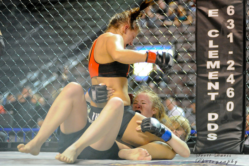 Lisa Reed (top) vs Rita Myers during the American MMA Ohio Championships at US Bank Arena in Cincinnati,Ohio. during the American MMA Ohio Championships at US Bank Arena in Cincinnati,Ohio.