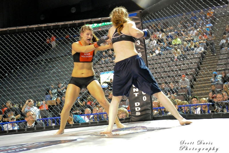 Lisa Reed (left) vs Rita Myers during the American MMA Ohio Championships at US Bank Arena in Cincinnati,Ohio. during the American MMA Ohio Championships at US Bank Arena in Cincinnati,Ohio.