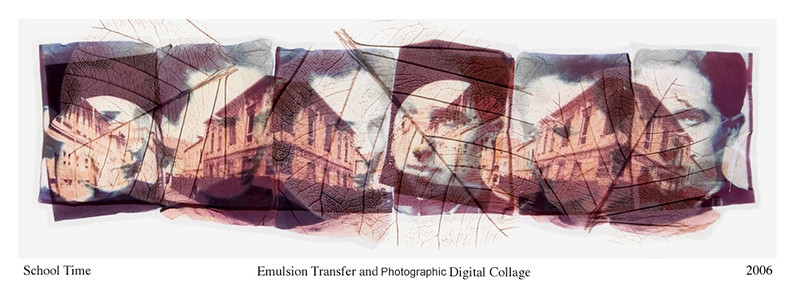 Vered Galor, 2006<br /> School Time, 1938<br /> Photographic Emulsion Transfer and Digital Collage on Glass