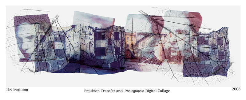 Vered Galor, 2006<br /> The Beginning, 1941<br /> Photographic Emulsion Transfer and Digital Collage on Glass