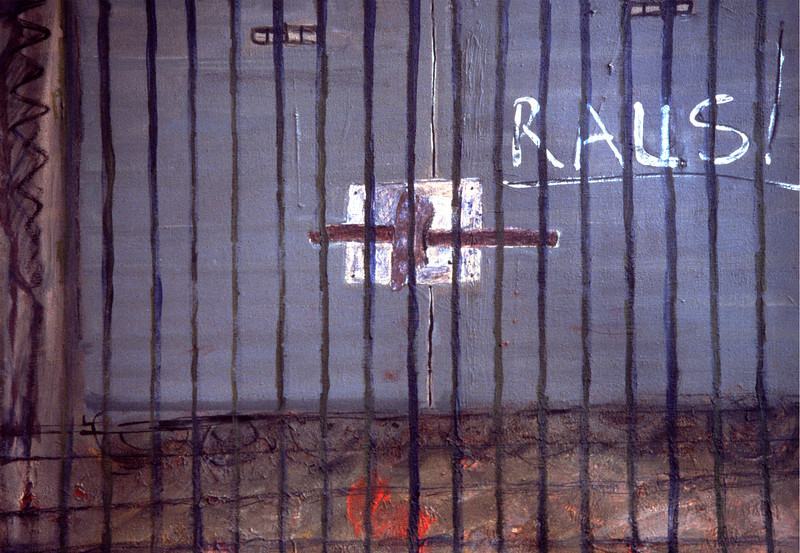 Miriam Shavit,<br /> Raus/Out, 1986<br /> Acrylic on Board