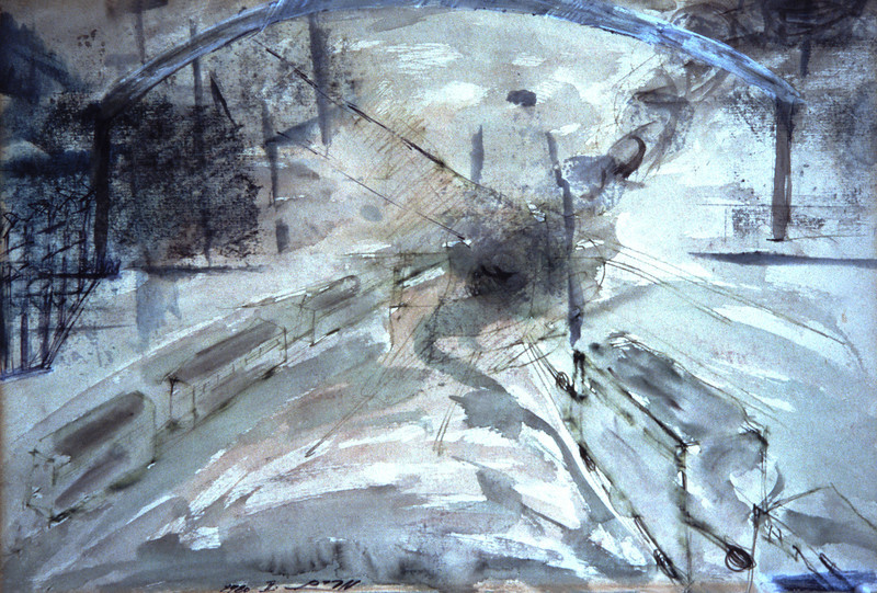 Miriam Shavit,<br /> At the Gate of Hell, 1980<br /> Watercolor on Paper