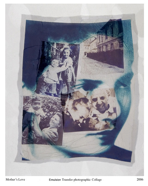 Vered Galor,<br /> Mother's Love, 2006<br /> Photographic Emulsion Transfer Collage on Glass