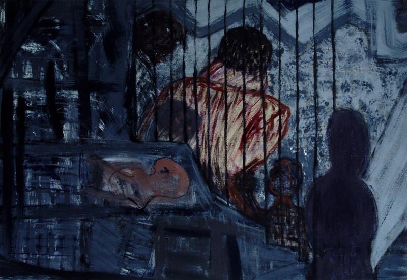 Miriam Shavit,<br /> View Through the Bars, 1985<br /> Acrylic on Paper