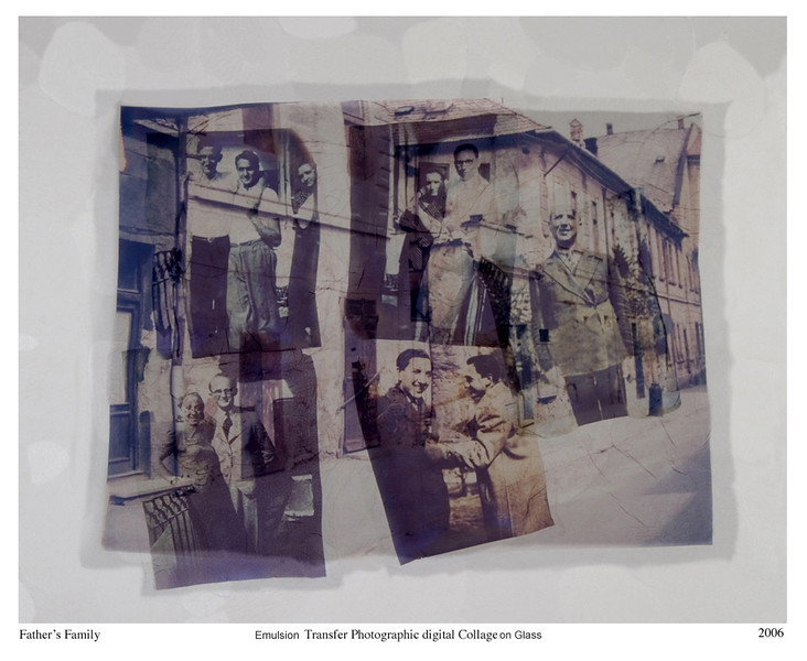 Vered Galor, 2006<br /> Father's Family, 1938<br /> Photographic Emulsion Transfer Collage on Glass