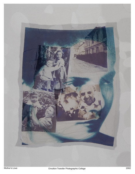 Mother, 2002<br /> Photographic Emulsion Transfer Collage on Glass