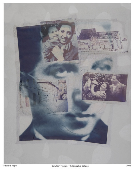 Father, 2002<br /> Photographic Emulsion Transfer Collage on Glass