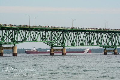 TLR-20180903-4410 MV Roger Blough glides under the Mackinac Bridge during the annual Labor Day Bridge Walk 2018
