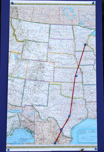 Day 1 (Emporia, Kansas) was 550 miles, Day 2 (Austin, Texas) was a whooping 627 miles, and Day 3 (Laredo, Texas) was a short recovery day of 233 miles. - Jay