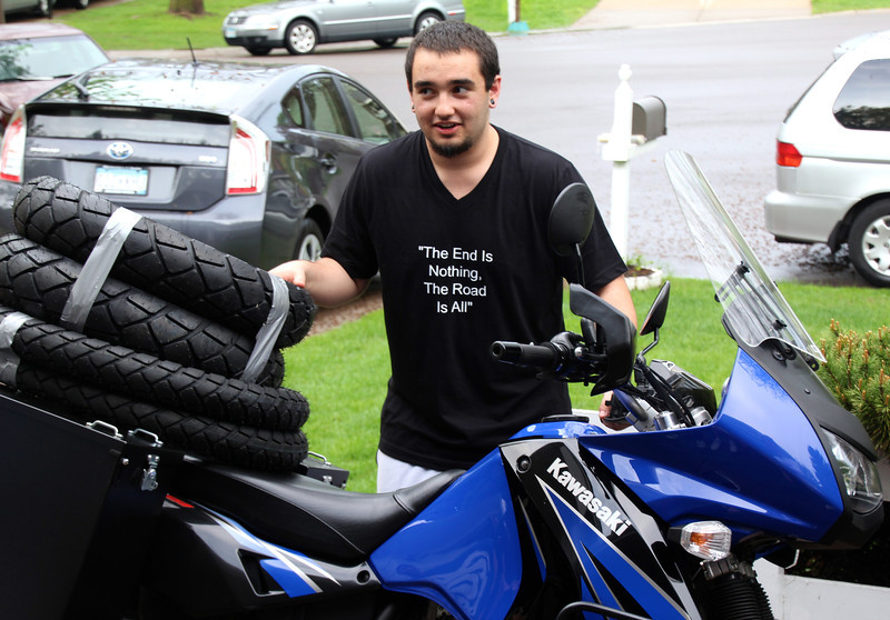 Here I am giving a rundown of the bike with all the modifications that we did to it. You will notice the tires on the back held together by duct tape. We will be switching out the tires that are currently on our bikes in Oaxaca.  Tires for KLRs are commonly found for KLRs in CA and SA  but it's difficult to find high end 80-20 tires (80% of the time on pavement and 20% on gravel and other surfaces) - Conor