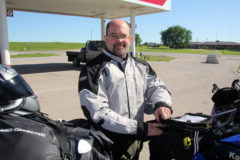 Unfortunately, gas stations are a regular feature of cycle trips. Our tanks hold 5.8 gallons which gives us a range of 250 miles; we normally hit about 50 mpg. On Day 1 we left Minnesota with gas at $4.29 a gallon and the low we found was in Laredo at 3.28. Gas in Leg 2, Mexico, will be in the range of $3 gallon. - Jay