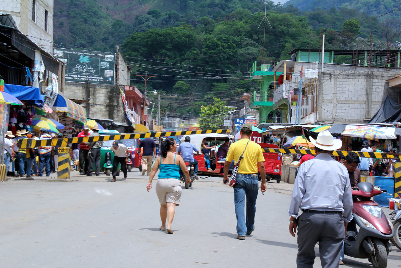 The border area of Guatemala, an easy crossing for us with many shops after leaving the aduana (customs) area. -Conor