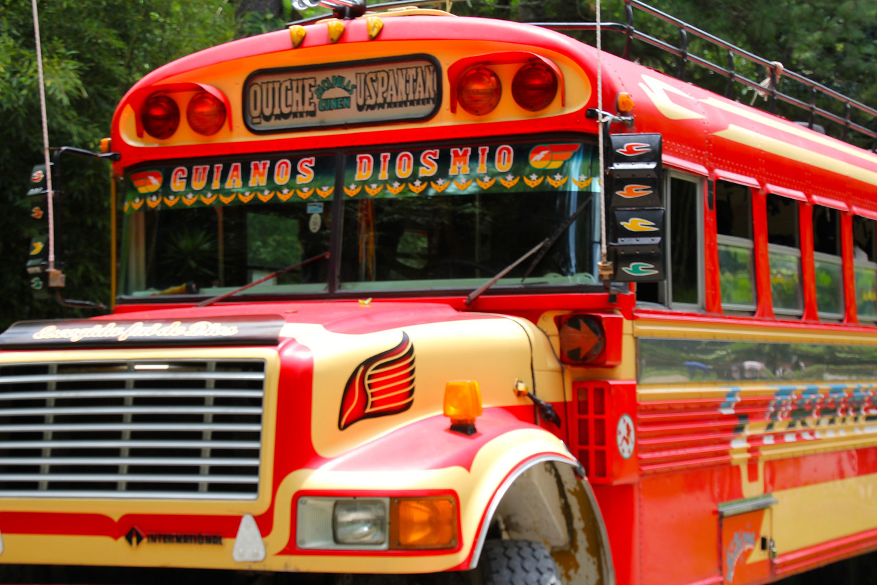 """""""Chicken buses"""" are found all over Guatemala and several other countries in CA (e.g. Honduras). They are built on the frames of retired school buses from the U.S. - Jay"""