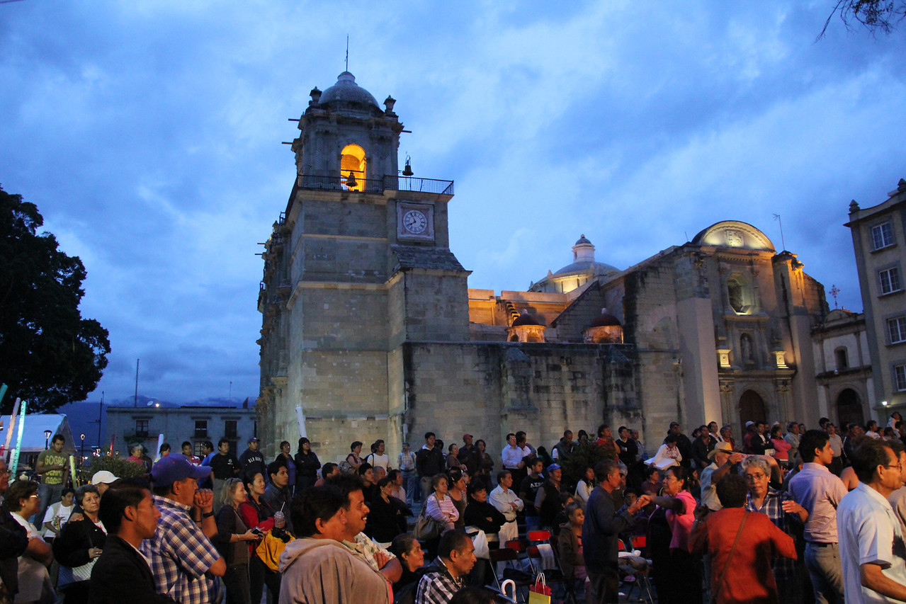 The Centro in Oaxaca was busy.  Here a crowd gathers around a live band where there were many couples dancing the night away.-Conor