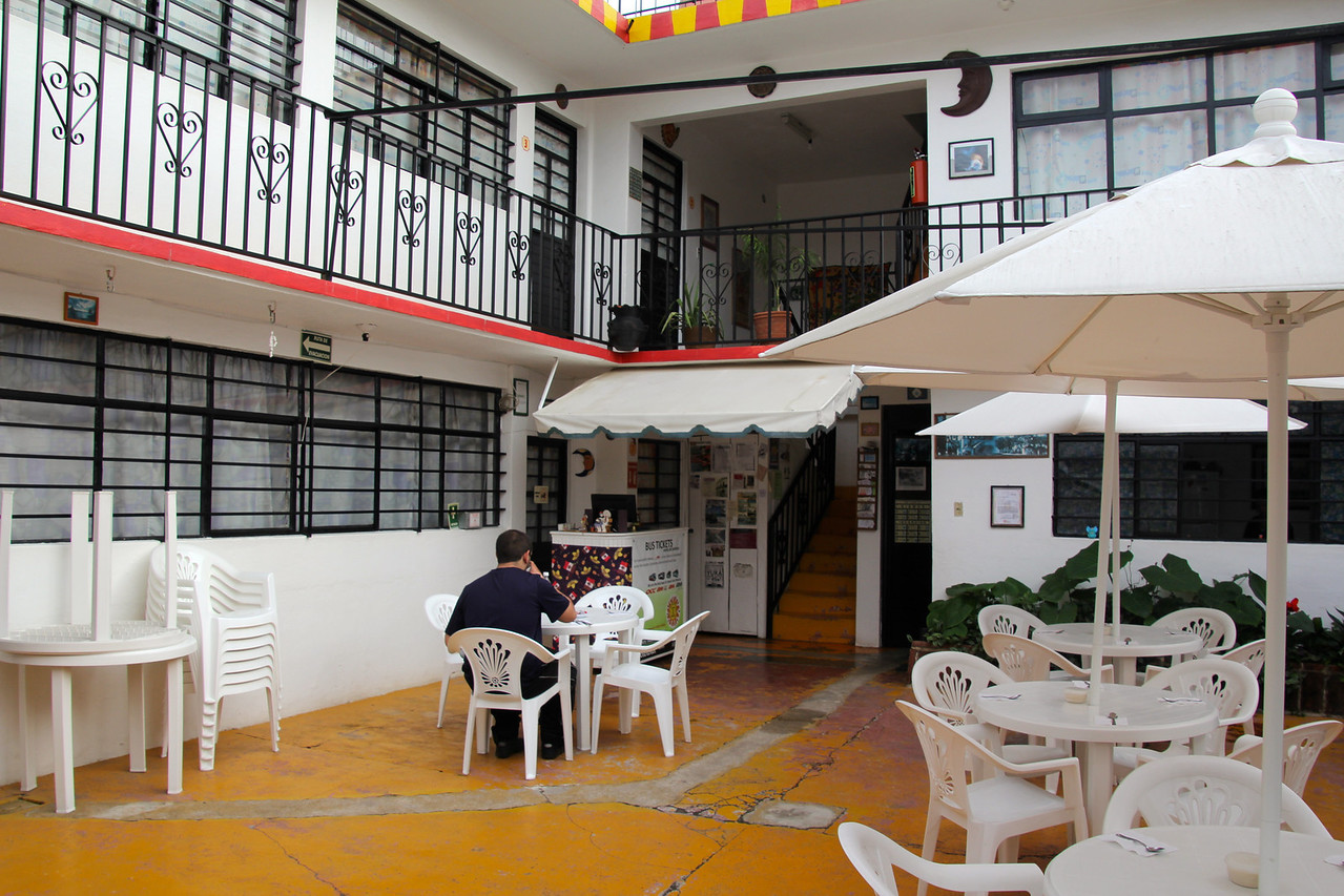 Breakfast included at the hostel in San Cristobal, a good way to start the day.-Conor
