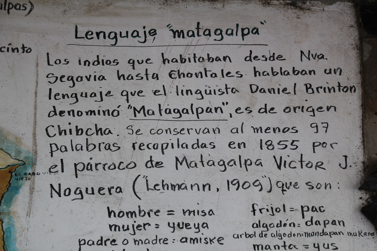 This was on a wall in Selva Negra and talks about translations between Spanish and the original language that was spoken in the region which I believe was called Matagalpan. Super cool piece of history that they preserved. -Conor