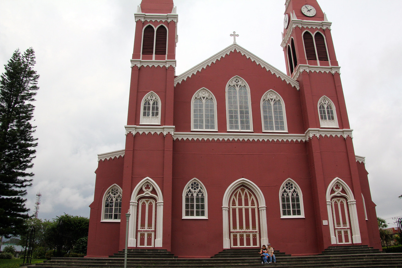 A very interesting church in Grecia (near Alajuela). The entire church was constructed of large metal plates in Belgium and then shipped to CR. Once in a Costa Rican port it was hauled piece by piece in ox carts to this location. - Jay