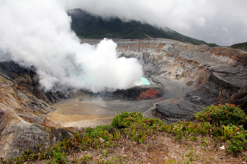 Parque Nacional Volcán Poás covers an area of approximately 16,000 acres and the summit is at 8,900 feet. The main crater is 950 feet deep and is almost six miles across. - Jay