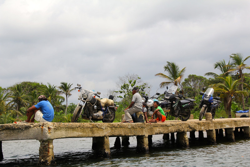 Our five bikes were all driven out onto this pier to await the Stahratte. - Jay