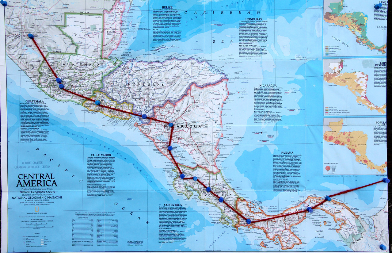 Our travels to this point have taken us from Mexico to Guatamala, El Salvador, Honduras, Nicaragua, and Costa Rica. Days 22-28 will take us through Panama, around the Darien Gap (southern tip of Panama), to  Colombia. - Jay