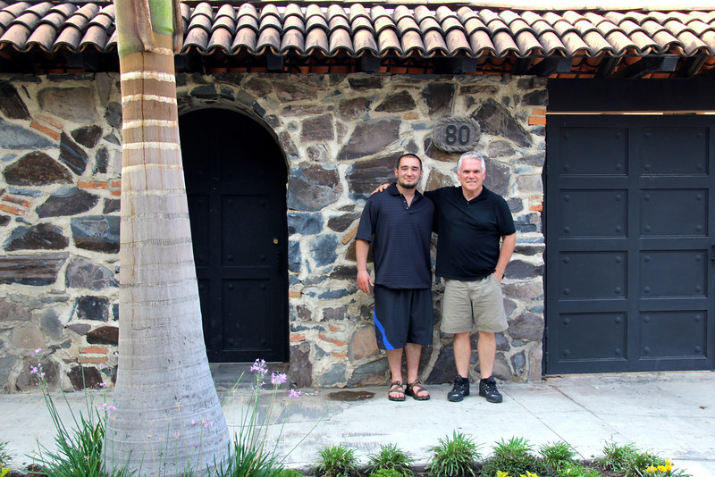 Glenn and Conor at the entrance to the Swarthout home. - Jay