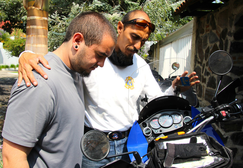 In this picture, Jorge Ayala, a good friend is blessing the bike for the ride today. Jorge is the President of the Mexico division of the CMA or Christian Motorcycle Association, which is a motorcycle club dedicated to presenting the gospel to other motocyclists in Mexico. He rode with us to Uruapan which is a mountainous city with a beautiful natural forest (pictures coming soon). - Conor