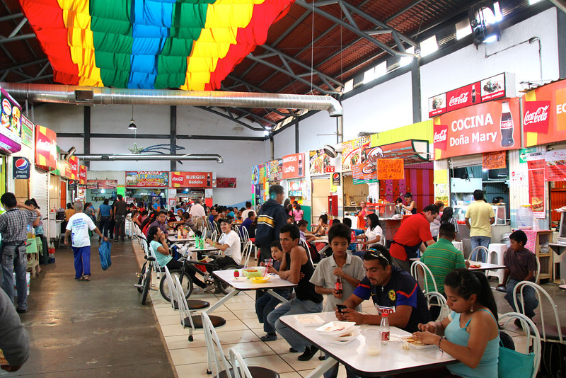 .......and eating. This is the top floor of the mercado. - Jay