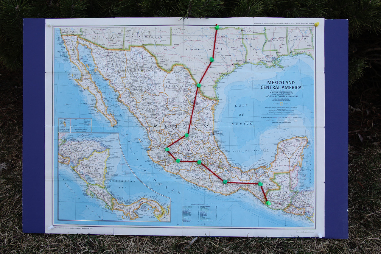 Days 4-6 would bring us to San Luis Potosi, Guadalajara, and Uruapan (the top three pins in Mexico). - Jay