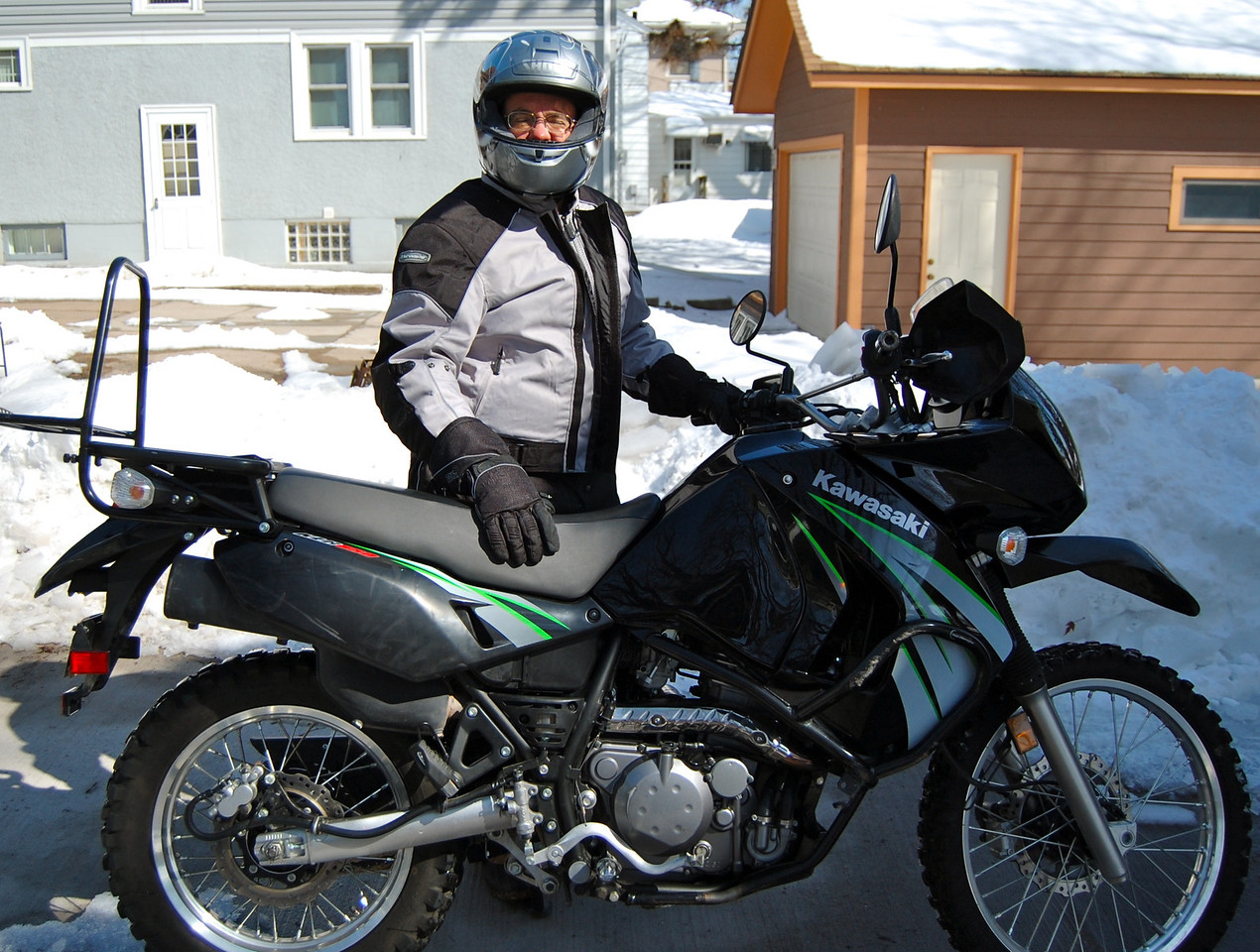 This was the first of our Argentina-bound bikes - a 2009 Kawasaki KLR650 with about 3K for about $3500. This purchase was made in March of 2011 and then we found a second KLR with about the same mileage and price about three months  later. Both bikes were basically stock but we sold off some parts we later changed - e.g. luggage rack, performance muffler, stock seats, windscreens, and front fenders. -Jay