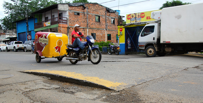 "In Colombia speed bumps are called policia ""police"". At the entrance and exit of every town these are here to help regulate the flow of traffic.- Conor"