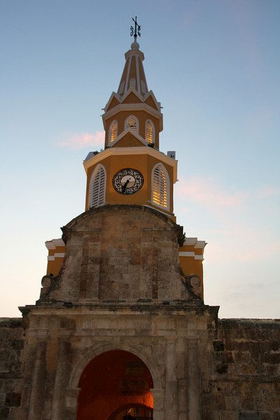 The official entrance to downtown Puerta del Reloj (Clock Gate) was visible from our hostel. - Jay