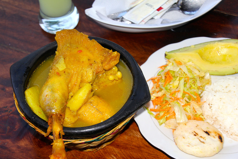 One typical Colombian dish I was dying to try was Sancocho de Gallina Criolla. This meal (about $5) was served with arepas (a flatbread made of corn dough), salad, and avacodo. This one tasted OK but I'm still on hunt for a better one. - Jay