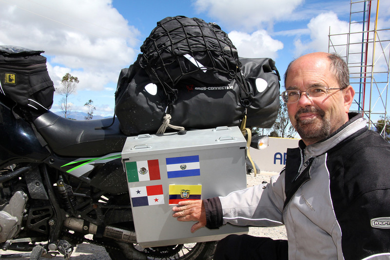 Time to add the Ecuador flag to the pannier and move on to Peru. - Jay