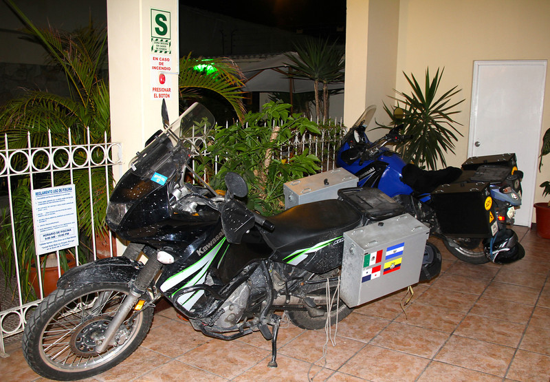 In our Piura hotel they allowed us to drive our motos through the lobby and we parked in a corner of the breakfast area. - Jay