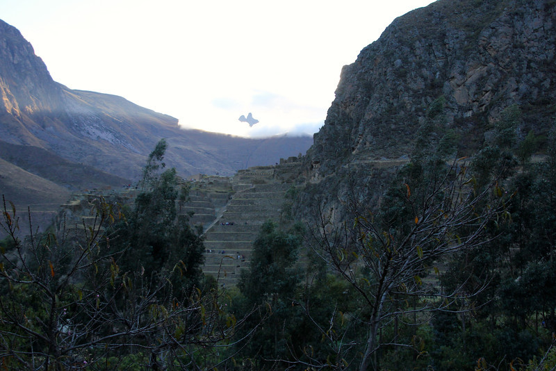 The terraces you're seeing from our window permitted farming on otherwise unusable terrain; they also allowed the Incas to take advantage of the different ecological zones created by variations in altitude. Terraces at Ollantaytambo were built to a higher standard than common Inca terraces (they have higher walls made of cut vs. field stone). - Jay