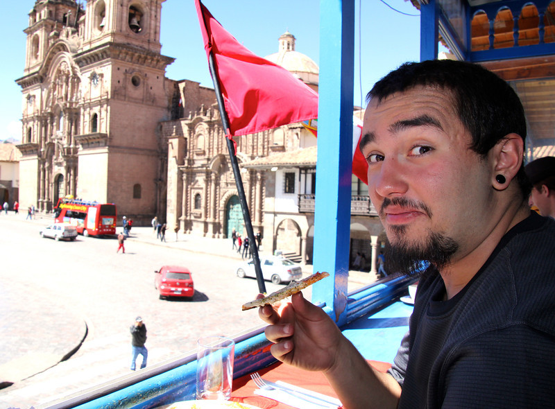 One thing we both liked about this Plaza de Armes was the second floor restaurants that allowed an amazing view of everything.- Conor