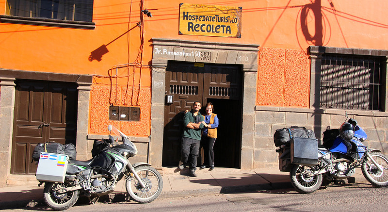 We rolled into Cusco on the night of Day 46 and stayed at this hostel. The kind lady next to Conor helped clean out an area (brown doors behind the black moto) and our bikes had a secure home also. On Day 47 we decided to start exploring Cusco (we'd return again after Machu Picchu) and then make our way to another interesting city called Ollantaytambo which is even closer to Machu Picchu. - Jay