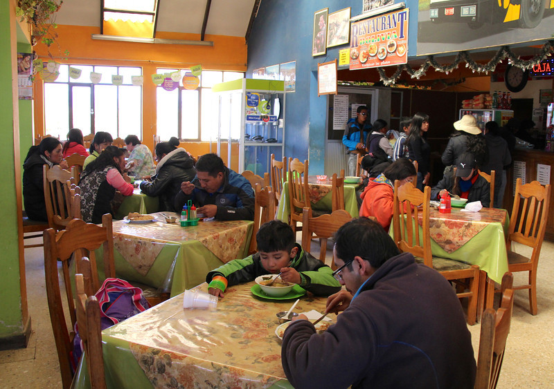 Day 55 we left Cochabamba and headed across the altiplano  bound for Santa Cruz (on the eastern side of Bolivia). This was a typical lunch stop and sopas (soups) continued to be popular dishes in the high elevations and cooler climate. - Jay