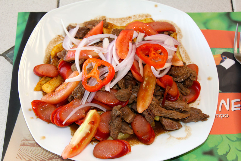 Pique Macho, a traditional Bolivian dish. With the exception of the sliced hot dogs this was quite good.<br /> <br /> Bolivian and Peruvian food rates about a 5 (on the 1-10 scale) for me. I still really miss the variety of foods found in Mexico. - Jay
