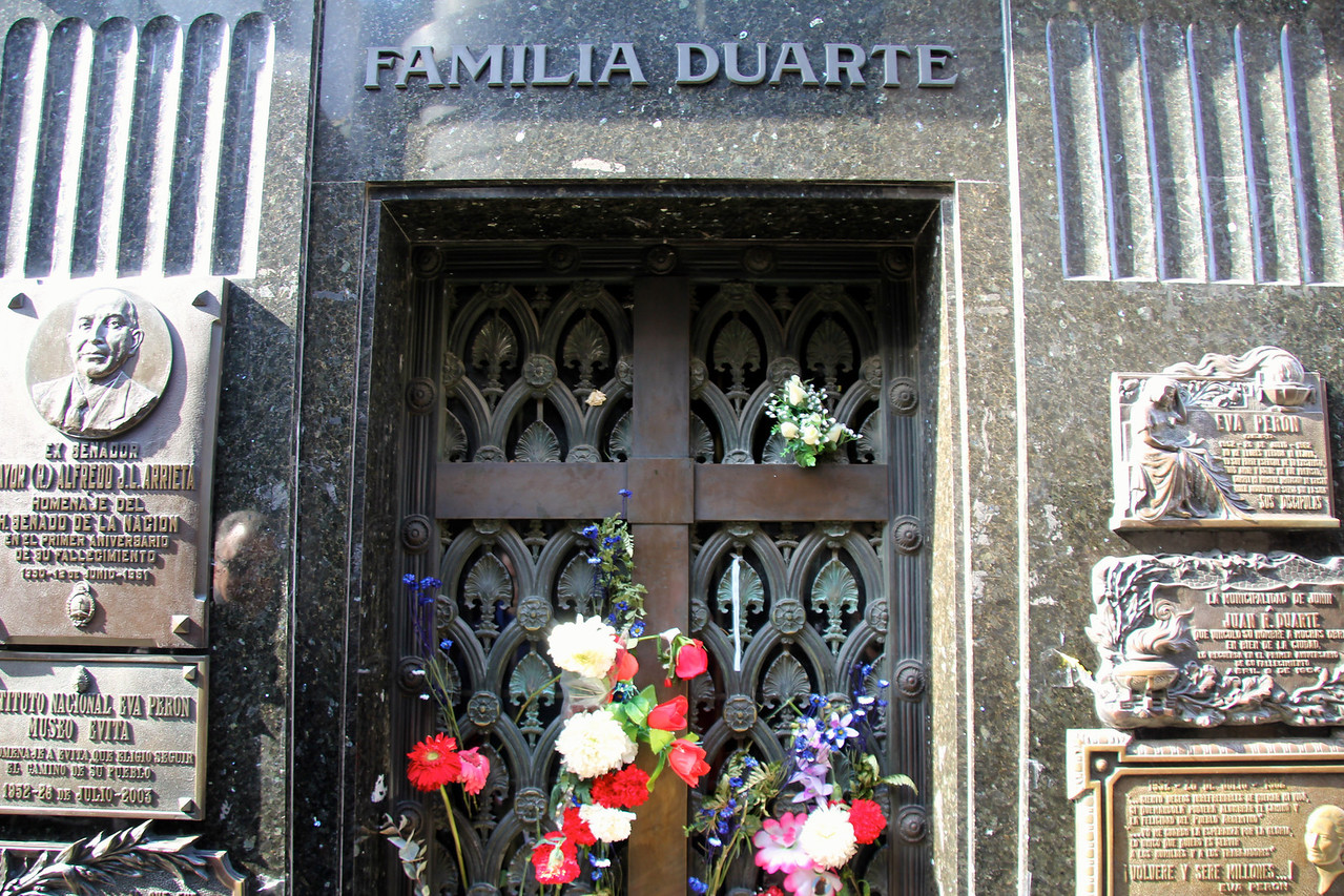 Evita was buried with her family in this tomb it included her brothers and sisters and her father.- Conor
