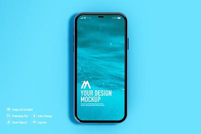 Mobile mockup on blue background