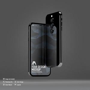 Two smartphone mockup on black background