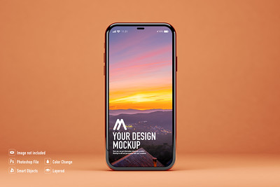 Mobile mockup on orange background