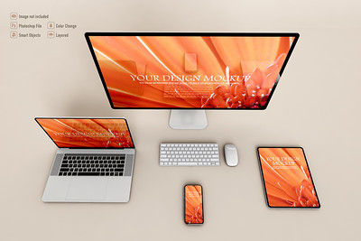 Various technological devices mockup on soft color background