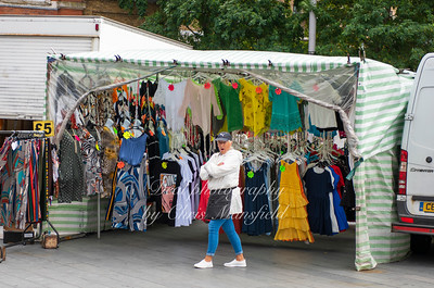 Aug' 10th 2019 . Clothing stall, Woolwich market